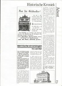 Wettische stromingen, Advent, 1985-9